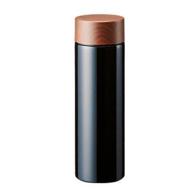 木目調サーモステンレスボトル 130ml/ブラック