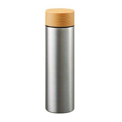 木目調サーモステンレスボトル 130ml/シルバー