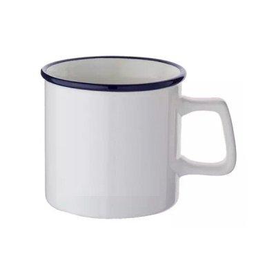 陶器マグストレート ラウンドリップ/ホワイト×ネイビー