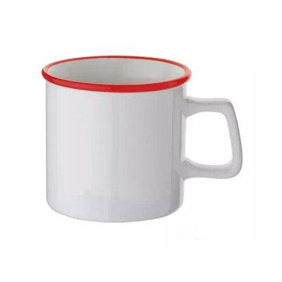 陶器マグストレート ラウンドリップ/ホワイト×レッド