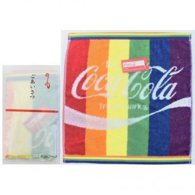 コカ・コーラ レインボー ウオッシュタオル(ポケット付ごあいさつ袋入)