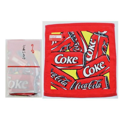 コカ・コーラ カン ウオッシュタオル(ポケット付ごあいさつ袋入)