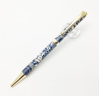 美濃和紙ボールペン 藍染/ぼたん柄(TM-1810)