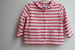 <img class='new_mark_img1' src='https://img.shop-pro.jp/img/new/icons62.gif' style='border:none;display:inline;margin:0px;padding:0px;width:auto;' />PETIT BATEAU プチバトー ピンク ボーダー カットソーカーディガン size12ヶ月