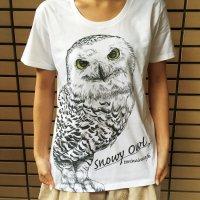 鳥のいるカフェオリジナル Uネック半袖Tシャツ「白ふくろう」
