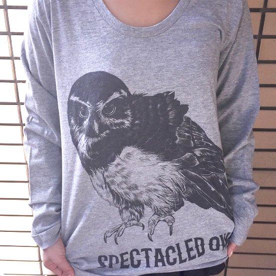 鳥のいるカフェオリジナル Uネック長袖Tシャツ「メガネフクロウ」