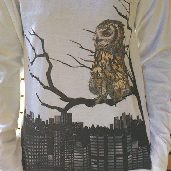 鳥のいるカフェオリジナル Uネック長袖Tシャツ「夜景ベンガル」