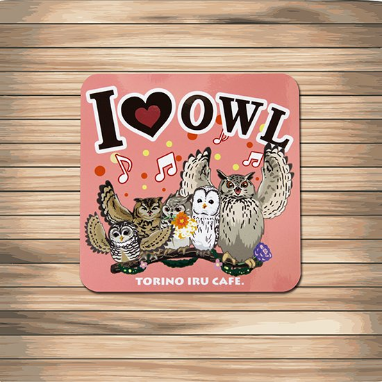 鳥のいるカフェステッカー「I LOVE OWL」
