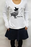 鳥カフェオリジナルUネック長袖Tシャツ「白ふくろう」