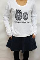 鳥カフェオリジナルUネック長袖Tシャツ「アフコノ親子」