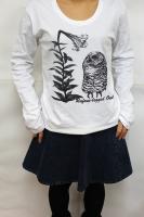 鳥カフェオリジナルUネック長袖Tシャツ「アカアシモリフクロウ」