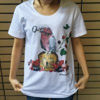 鳥カフェオリジナルUネック半袖Tシャツ「ももいろインコ」
