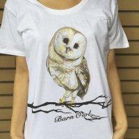 鳥カフェオリジナルUネック半袖Tシャツ「メンフクロウ」