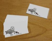 鳥のいるカフェメッセージカード「白フクロウ」