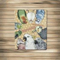 鳥のいるカフェコンパクトミラー「parrots!」