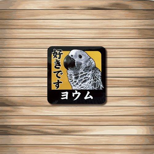 鳥カフェミニステッカー「好きですシリーズ」ヨウム