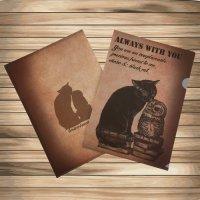 鳥のいるカフェクリアファイル「黒猫とチョボ」