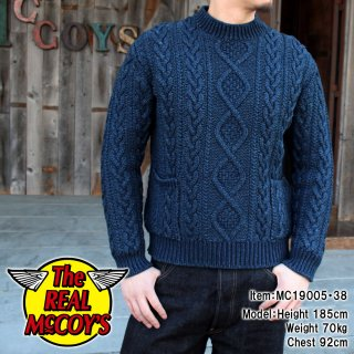 <img class='new_mark_img1' src='https://img.shop-pro.jp/img/new/icons15.gif' style='border:none;display:inline;margin:0px;padding:0px;width:auto;' />INDIGO ARAN CREWNECK SWEATER セーター
