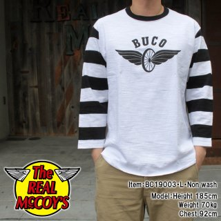 <img class='new_mark_img1' src='https://img.shop-pro.jp/img/new/icons15.gif' style='border:none;display:inline;margin:0px;padding:0px;width:auto;' />BUCO STRIPED BASEBALL TEE / FLYING WHEEL ベースボールT Tシャツ 七分袖