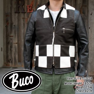 <img class='new_mark_img1' src='https://img.shop-pro.jp/img/new/icons15.gif' style='border:none;display:inline;margin:0px;padding:0px;width:auto;' />BUCO DEERSKIN RACING VEST / CHECKER レザーベスト ディアスキン 鹿革 チェッカーフラッグ
