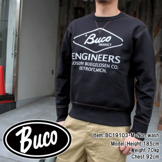 <img class='new_mark_img1' src='https://img.shop-pro.jp/img/new/icons15.gif' style='border:none;display:inline;margin:0px;padding:0px;width:auto;' />BUCO SWEATSHIRT / ENGINEER プリントスウェット