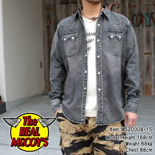 <img class='new_mark_img1' src='https://img.shop-pro.jp/img/new/icons15.gif' style='border:none;display:inline;margin:0px;padding:0px;width:auto;' />JOE McCOY BLACK DENIM WESTERN SHIRT / WASHED ブラックデニム ウォッシュ加工 ウエスタンシャツ