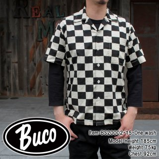 <img class='new_mark_img1' src='https://img.shop-pro.jp/img/new/icons15.gif' style='border:none;display:inline;margin:0px;padding:0px;width:auto;' />BUCO CHECKERED PATTERN SHIRT S/S オープンカラーシャツ ボックスシャツ チェッカーフラッグ