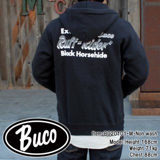 <img class='new_mark_img1' src='https://img.shop-pro.jp/img/new/icons15.gif' style='border:none;display:inline;margin:0px;padding:0px;width:auto;' />BUCO F/Z SWEATSHIRT / RUFF-RIDER プリントフルジップパーカー カスタム バイカー 吊り編み