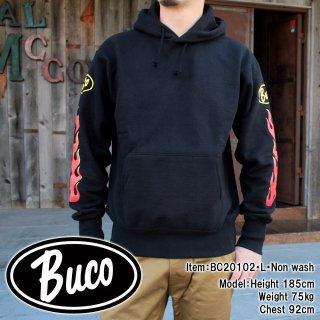 <img class='new_mark_img1' src='https://img.shop-pro.jp/img/new/icons15.gif' style='border:none;display:inline;margin:0px;padding:0px;width:auto;' />BUCO P/O SWEATSHIRT / FLAME ファイヤーパターン スウェットパーカー バイカー