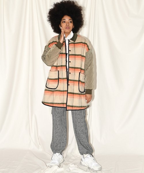 BIG A-LINE COAT_ORANGE CHECK/KHAKI_