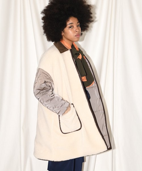 BIG A-LINE COAT_OFF WHITE/GRAY_