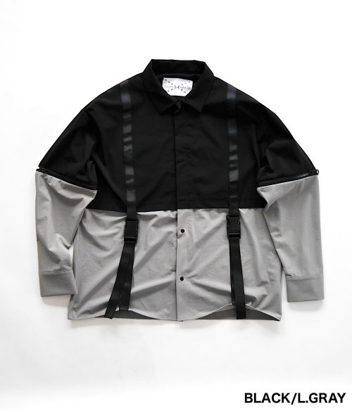 SWITCHING LAYERED SHIRT_BLACK/L.GRAY_
