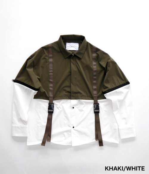 SWITCHING LAYERED SHIRT_KHAKI/WHITE_