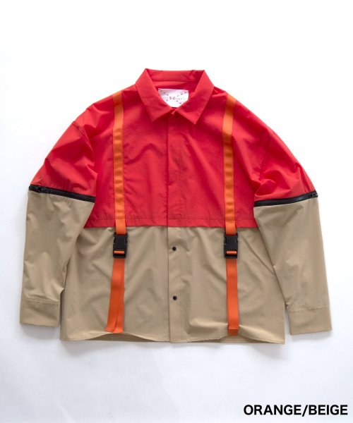 SWITCHING LAYERED SHIRT_ORANGE/BEIGE_