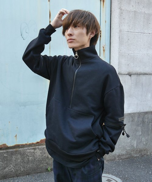 HALF ZIP SWEAT_BLACK_