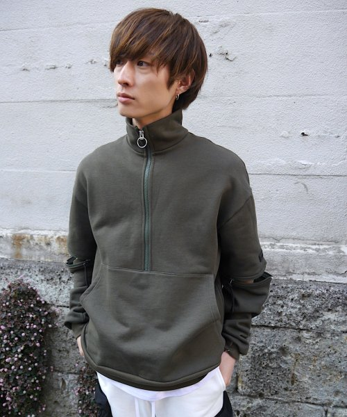 HALF ZIP SWEAT_KHAKI_