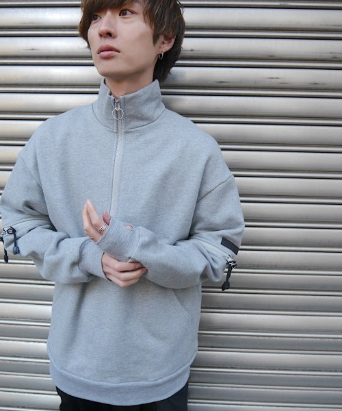 HALF ZIP SWEAT_GRAY_