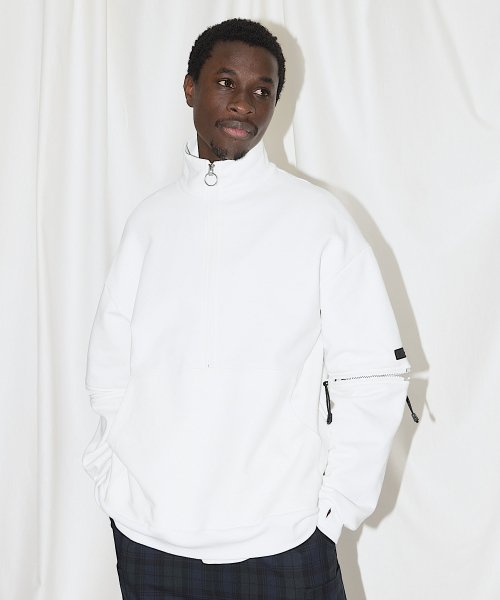 HALF ZIP SWEAT_WHITE_