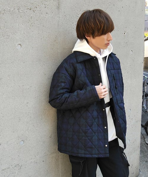 QUILTING BIG JACKET_BLACK WATCH_