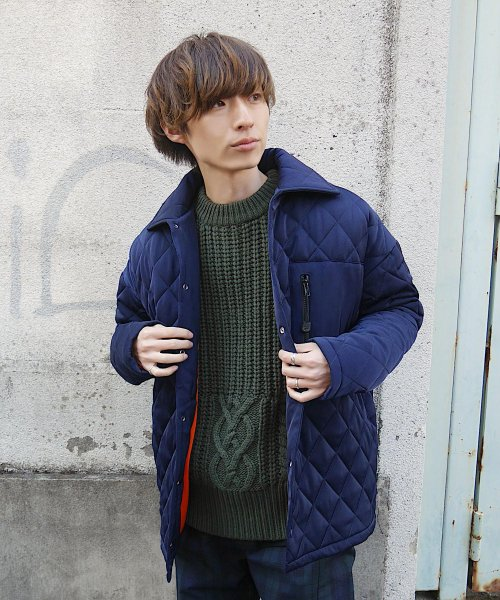 QUILTING BIG JACKET_NAVY_