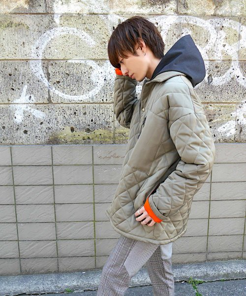 QUILTING BIG JACKET_KHAKI_