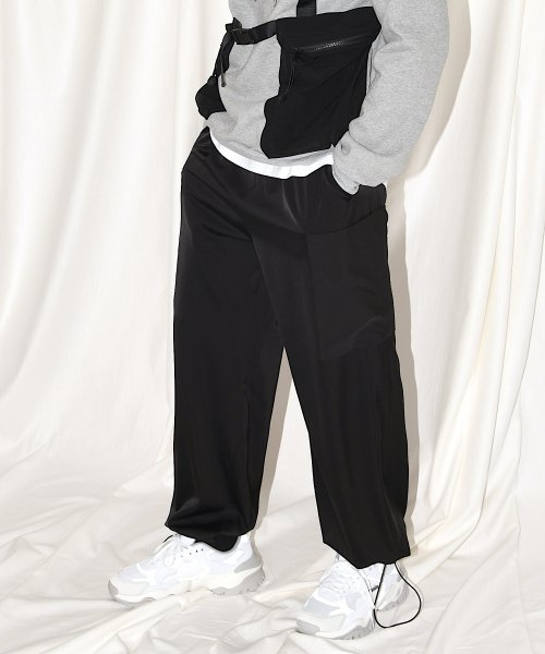 PATCH  POCKET WIDE PANTS_BLACK_