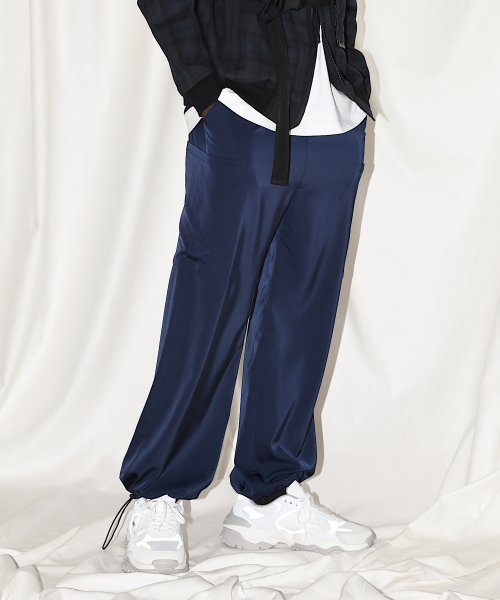 PATCH  POCKET WIDE PANTS_NAVY_