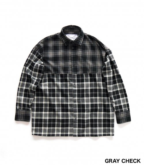 BACK OPEN BIG SHIRT_GRAY CHECK_