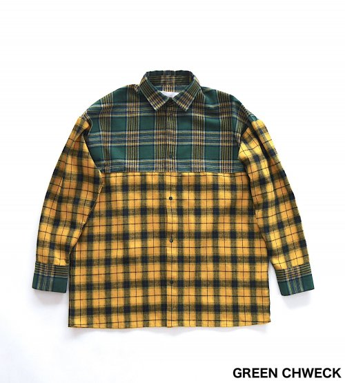 BACK OPEN BIG SHIRT_GREEN CHECK_