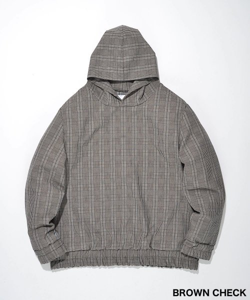 SWITCHING TAIL HOODIE_BROWN CHECK_