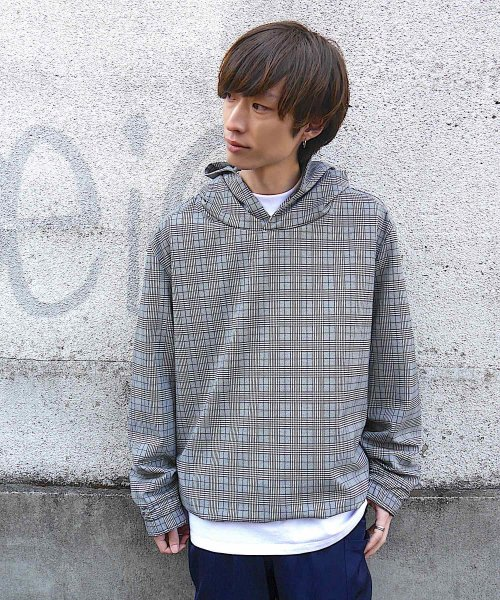 SWITCHING TAIL HOODIE_GRAY CHECK_