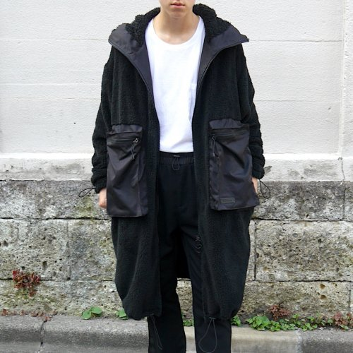 DOUBLE-FACE HOODIE COAT_BLACK_