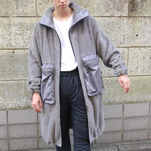 DOUBLE-FACE HOODIE COAT_GRAY_
