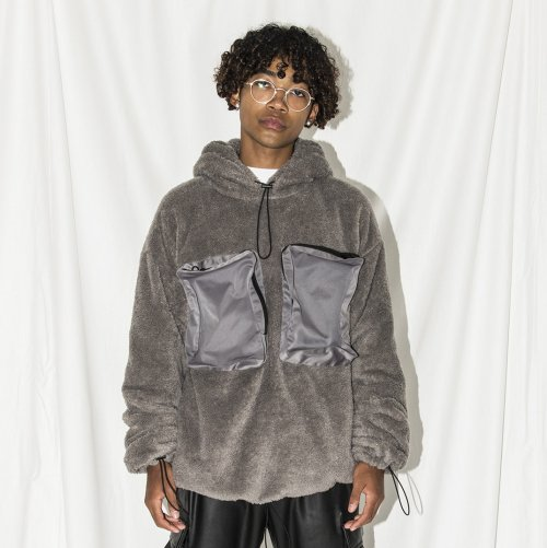 DOUBLE-FACE HOODIE_GRAY_